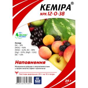 Кеміра Organic Planet, хелатне мінеральне добриво для позакореневого підживлення, NPK 12-0-38, 25 г