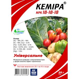 Кеміра Organic Planet, хелатне мінеральне добриво для позакореневого підживлення, NPK 18-18-18, 25 г